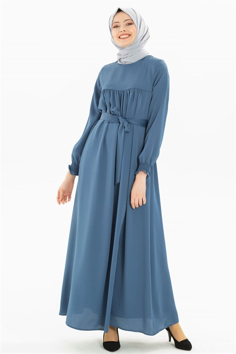Corso Satin Indigo Modest Dress 3M629