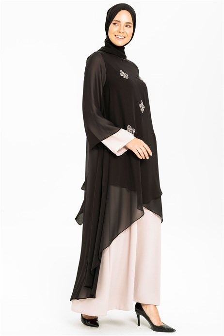 Beyza-Gemmed Chiffon Detailed Beige / Black Modest Evening Dress 3M5176