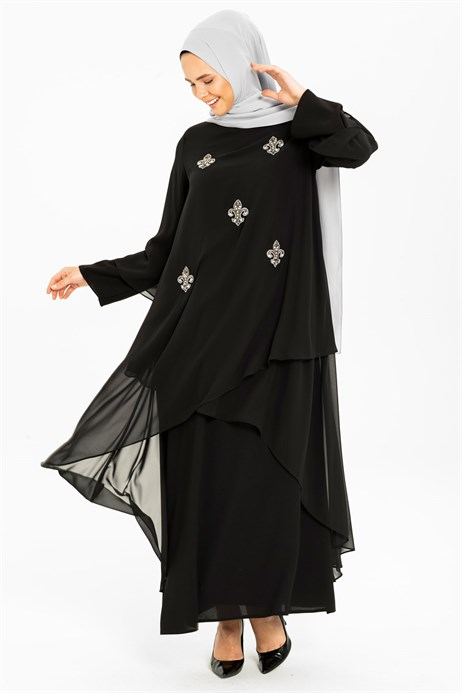 Gemmed Chiffon Detailed Black Modest Evening Dress 3M5176