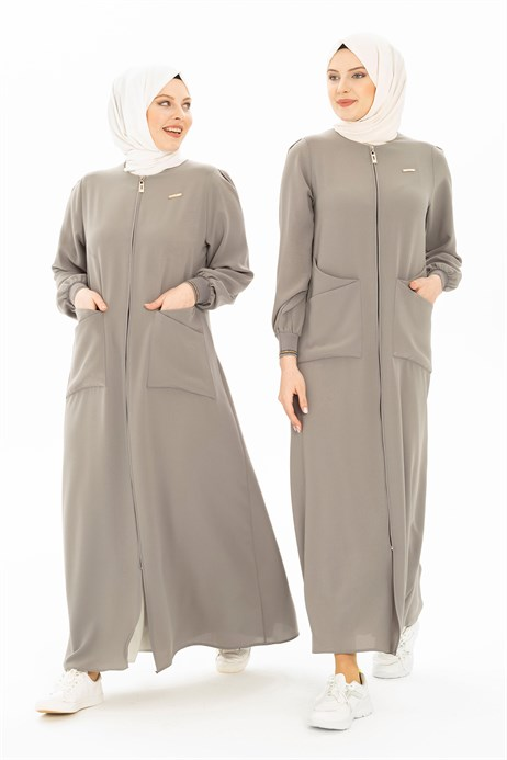 Grey Abaya with Patch Pockets 3314