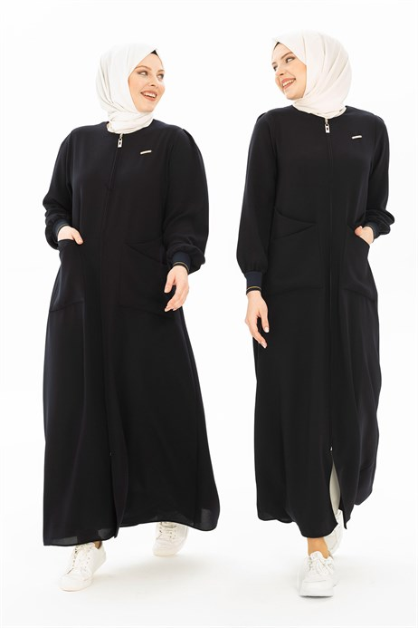 Navy Abaya with Patch Pockets 3314