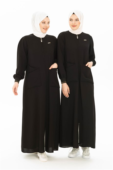 Black Abaya with Patch Pockets 3314