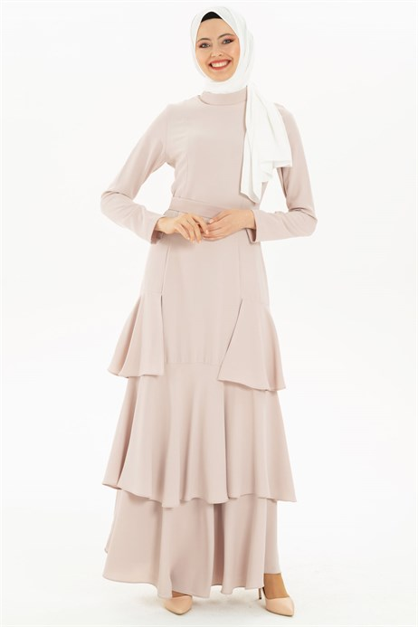Flounce Detailed Beige Modest Evening Dress 3M5129