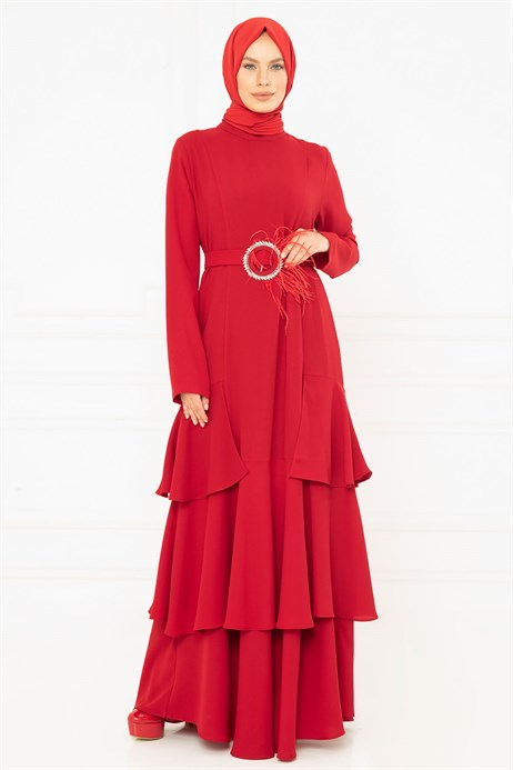 Flounce Detailed Red Modest Evening Dress 3M5129