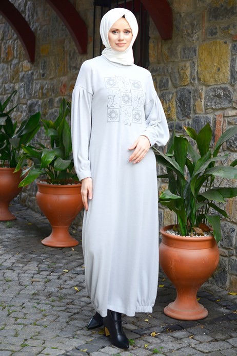 Beyza-Neck Ornamented Antrasit Modest Dress