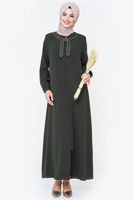 Neck Ornamented Khaki Abaya