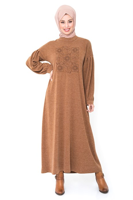 Neck Ornamented Brown Modest Dress