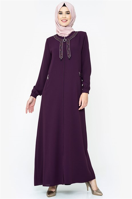 Neck Ornamented Damson Abaya