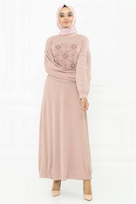 Neck Ornamented Powder Modest Dress 3M5114