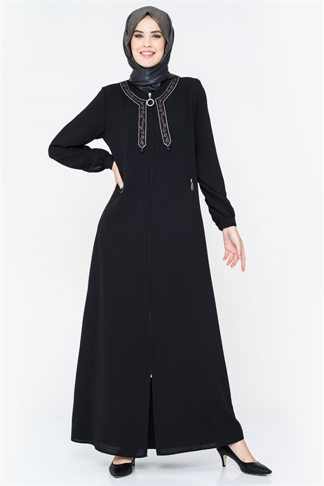 Neck Ornamented Black Abaya