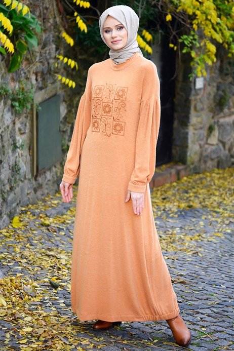 Neck Ornamented Orange Modest Dress
