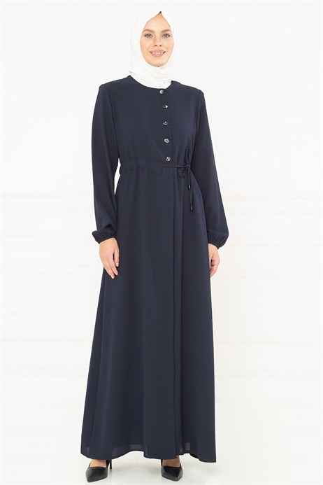 Beyza-Sideways Strapped Navy Blue Abaya 3M3207