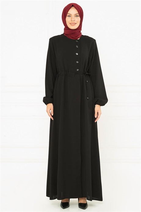 Sideways Strapped Black Abaya 3M3207