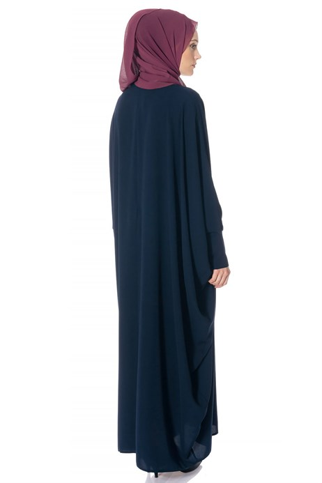 Beyza-Batwing Sleeve Navy Blue Modest Dress