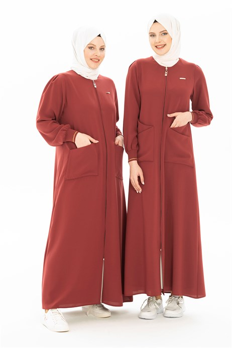 Cinnamon Abaya with Patch Pockets 3314