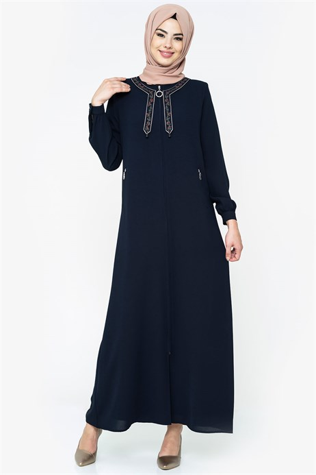 Neck Ornamented Navy Blue Abaya