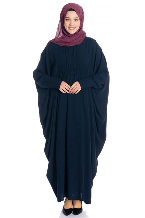 Batwing Sleeve Navy Blue Modest Dress